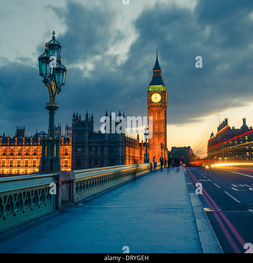 Big Ben at night, London - Stock-Bilder