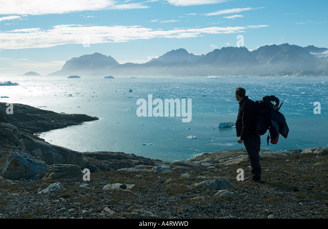Looking across Sermilik Fjord from Angmagssalik Island, East Greenland - Stock Image