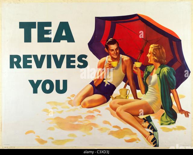 Tea Revives You. England, mid-20th century - Stock-Bilder