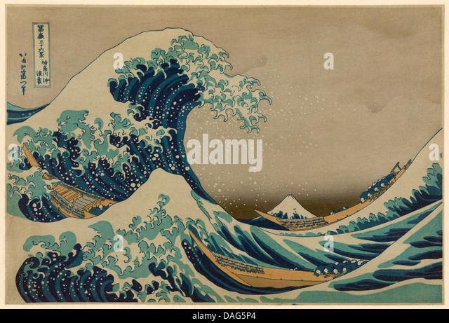 The Great Wave off Kanagawa, Hokusai Katsushika 1760-1849. Antique print - Stock Image