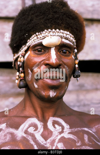 Oceania, Indonesia, Irian Jaya. Asmat people. - Stock Image