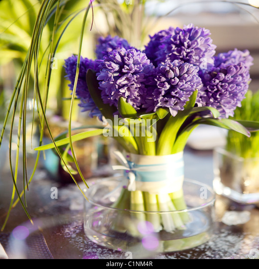 the dining table was decorated with the tulip flower for the romantic time - Stock Image
