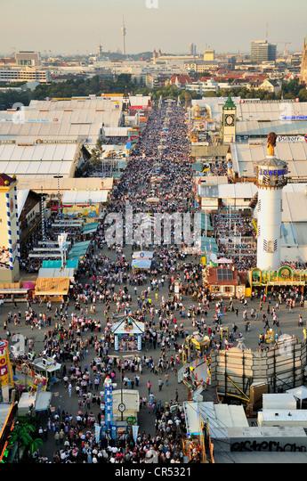Crowds in Bierstrasse, beer street, Oktoberfest, Munich, Bavaria, Germany, Europe - Stock Image