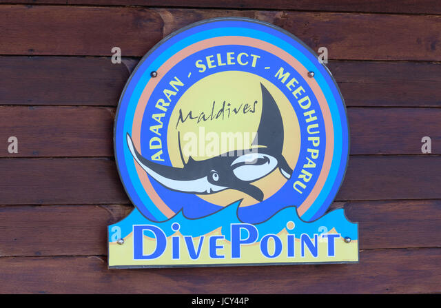 Dive Point sign Adaaran Select Meedhupparu Maldives - Stock Image