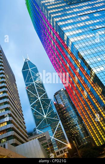Bank of China building and Hong Kong skyline at dusk, Hong Kong, China - Stock Image