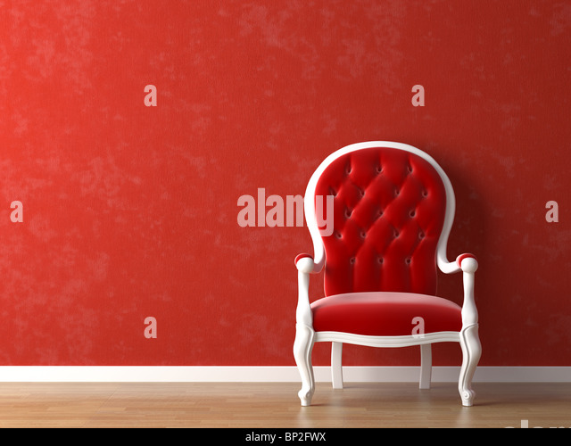 red and white interior design with minimal elements - Stock Image