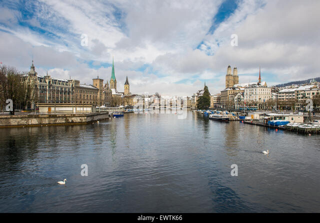 Zurich Switzerland - View of the Limmat river - Stock Image