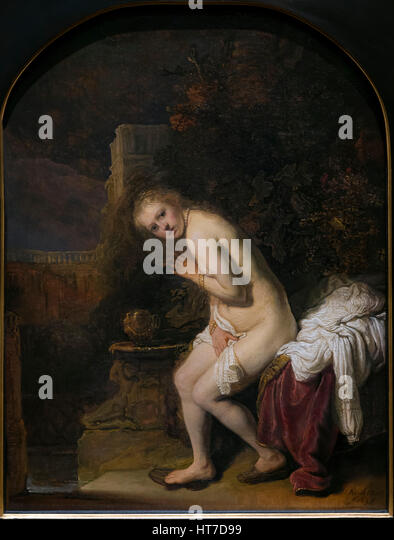 Susanna, by Rembrandt, 1636, Royal Art Gallery, Mauritshuis Museum, The Hague, Netherlands, Europe - Stock Image