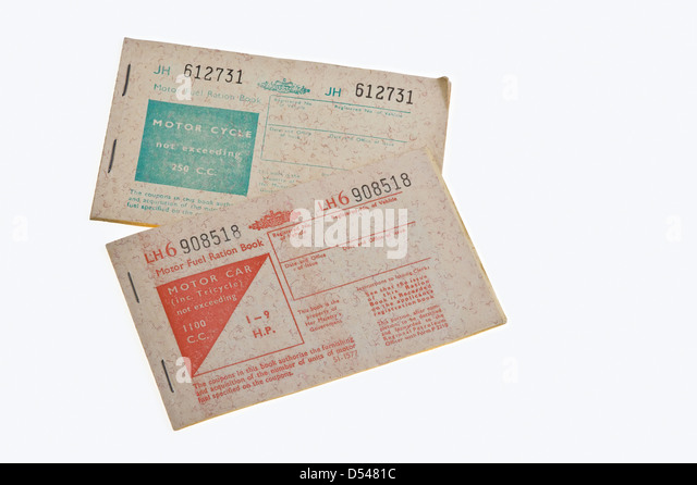 Petrol ration books, from 1973. - Stock Image