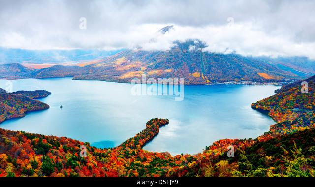 Landscape of Mt. Nantai and Lake Chuzenji in Nikko, Japan. - Stock Image