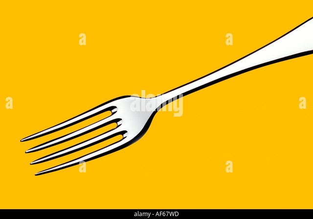 Fork Yellow Background - Stock Image