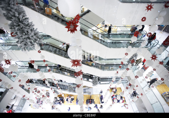 escalators christmas decorations in shopping stock photos escalators christmas decorations in. Black Bedroom Furniture Sets. Home Design Ideas