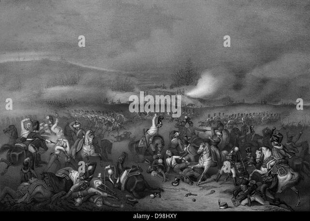 Napoléon at the Battle of Austerlitz, .The Battle of Austerlitz, also known as the Battle of the Three Emperors, - Stock Image
