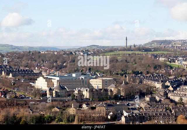 View towards Calderdale Royal Hospital, Halifax, West Yorkshire - Stock Image