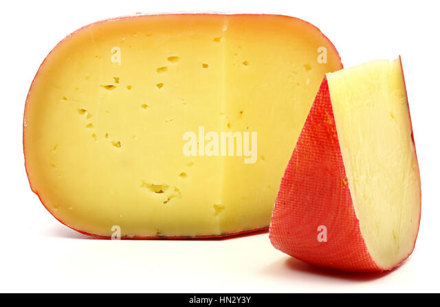 Edam cheese wheel isolated on white background - Stock Image
