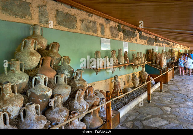 Displays of recovered clay amphora at the Underwater Archaeology Museum in St Peter's Castle Bodrum, Mugla Province, - Stock Image
