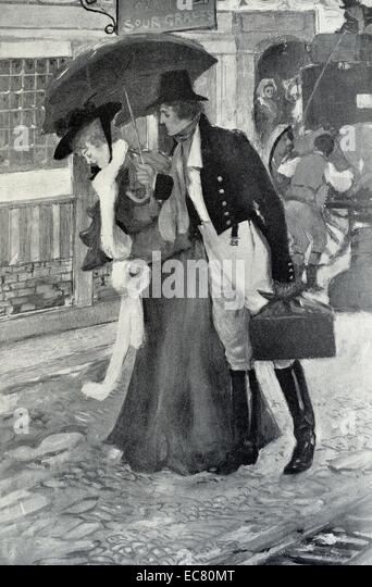 Victorian couple  talk in a London street - Stock Image