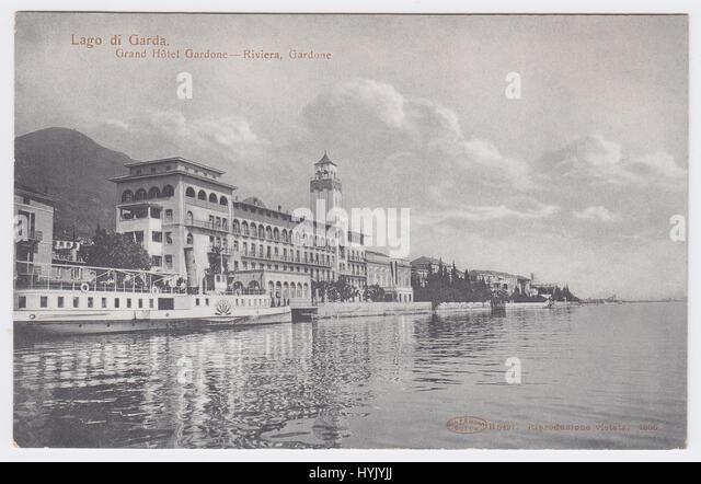 Grand Hotel Gardone & Lake Garda, Gardone Riviera, Italy - Stock Image