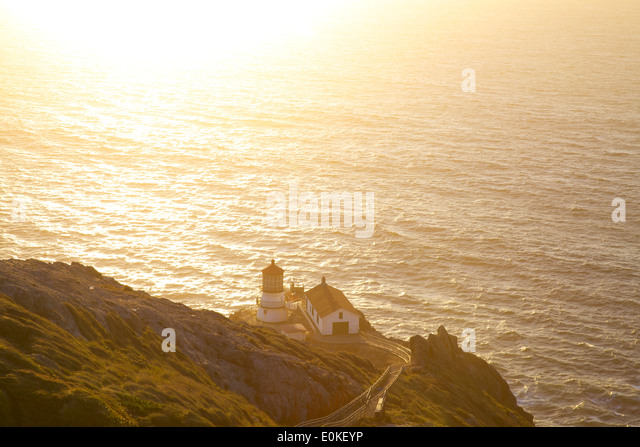 The Point Reyes Lighthouse at sunset. - Stock Image