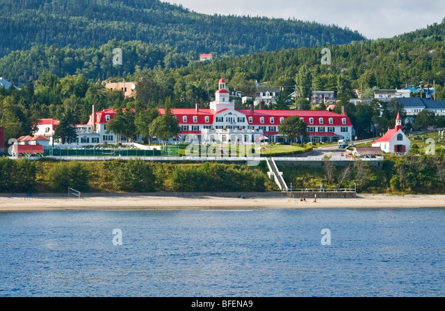 Historic Tadoussac Hotel and Chapel of the Indians, Tadoussac, Manicouagan, Quebec, Canada - Stock Image