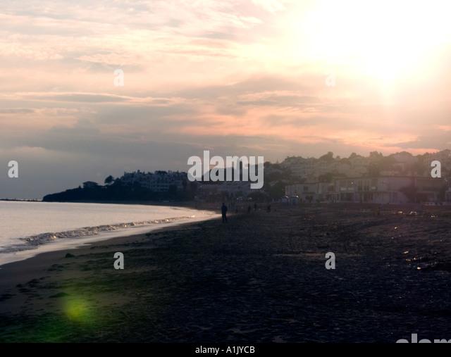 Dusk over la Cala beach, La Cala, de Mijas , Costa del Sol, Andalucia, Andalusia Spain Spanish  Med Mediterranean - Stock Image
