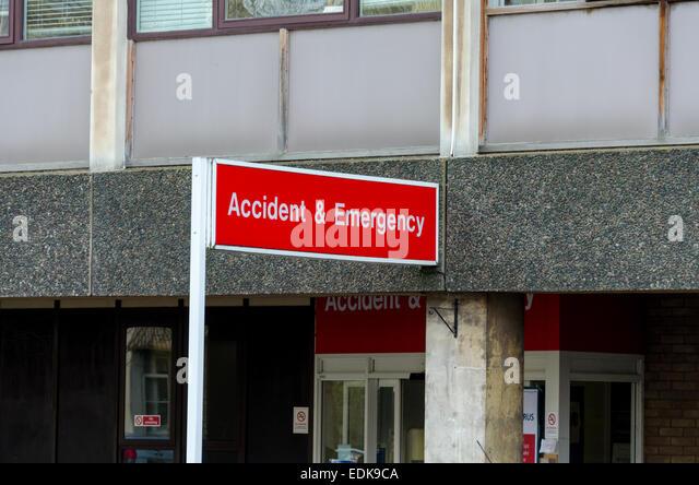 Accident & Emergency sign, Addenbrooke's Hospital, Cambridge, UK - Stock Image