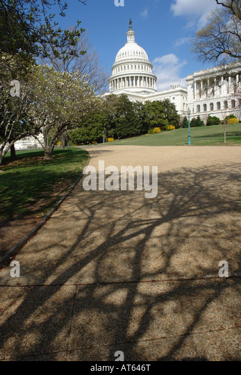 USA Capitol Building on a Bright Sunny Day Viewed From Below Washington DC USA Copy Space - Stock Image