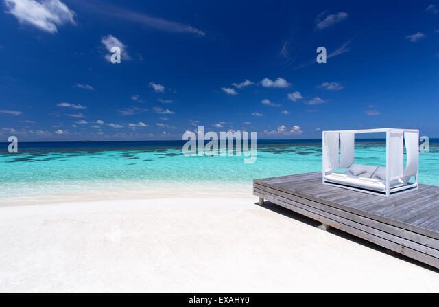Sofa at the beach in the Maldives, Indian Ocean, Asia - Stock Image