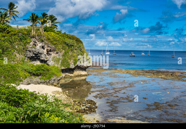 Sailing boats in the harbour of Niue, South Pacific, Pacific - Stock Image