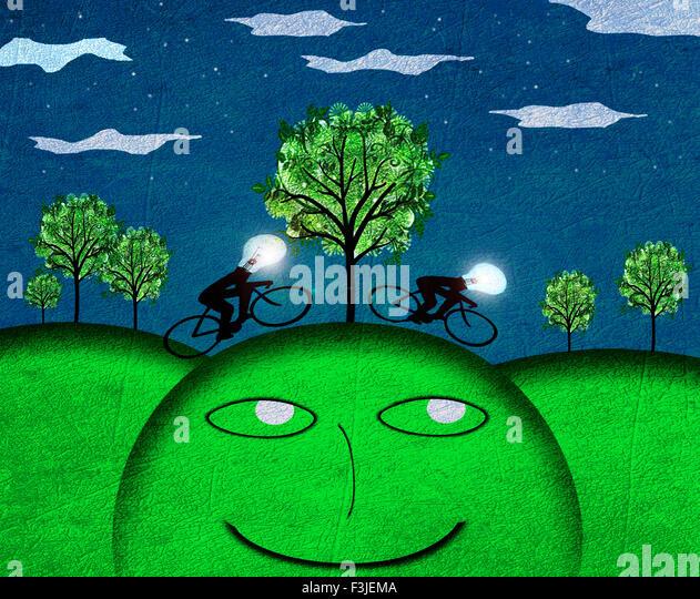 creativity concept nocturne landscape digital illustration - Stock Image
