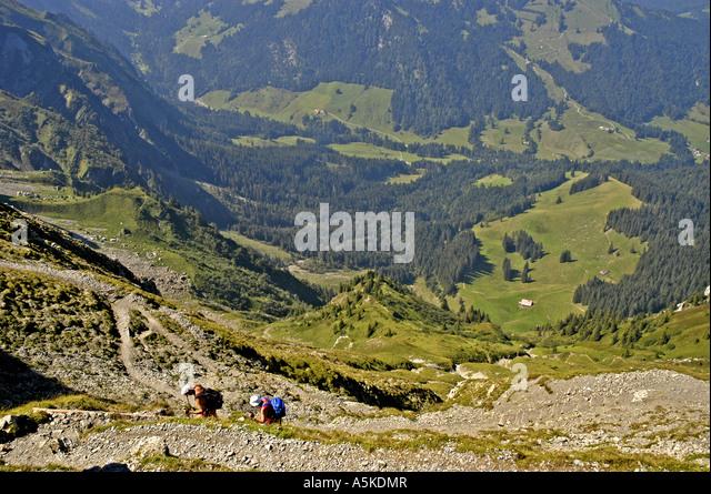 Lucerne Switzerland steep walking hiking up Mount Pilatus - Stock Image