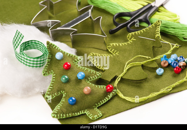 DIY Christmas tree felt decoration - Stock Image