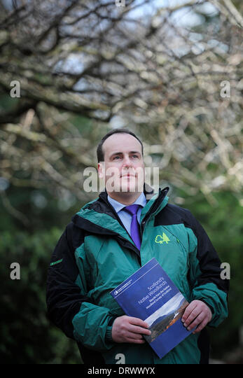 Edinburgh, UK. 3rd Feb, 2014. Environment and Climate Change Minister Paul Wheelhouse unveiles Scotland's first - Stock Image
