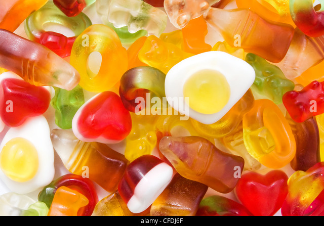Background of mixed sweets - Stock Image