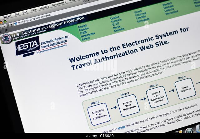 ESTA website - Electronic System for Travel Authorization - Stock-Bilder