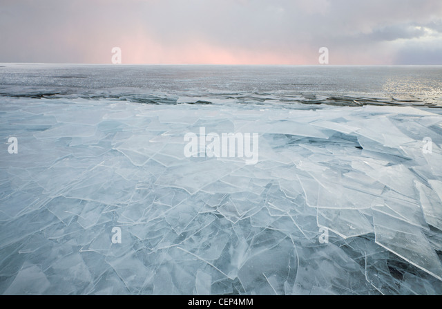 Ice Chunks On Lake Superior; Grand Portage Minnesota United States Of America - Stock Image