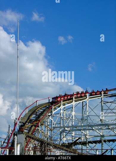 Tourist Attraction and Landmark Cyclone Roller Coaster at Coney Island Amusement Park in Brooklyn New York City - Stock Image