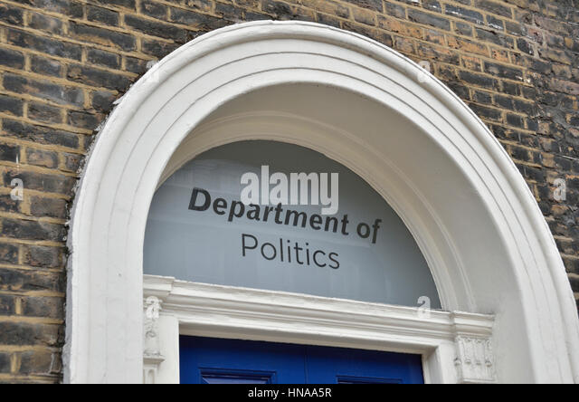 University department of politics sign above a doorway - Stock Image