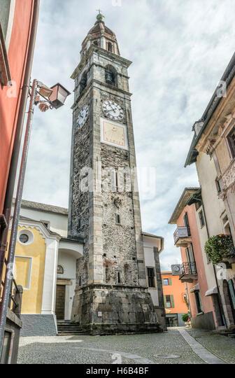 Church Chiesa parrocchiale dei Santi Pietro e Paolo, Ascona, Ticino, Switzerland - Stock-Bilder