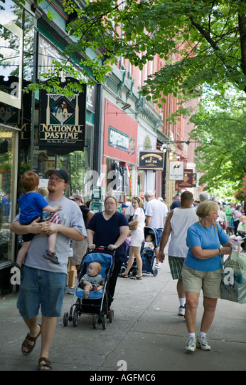 Main Street Cooperstown New York during Hall of Fame induction weekend - Stock Image