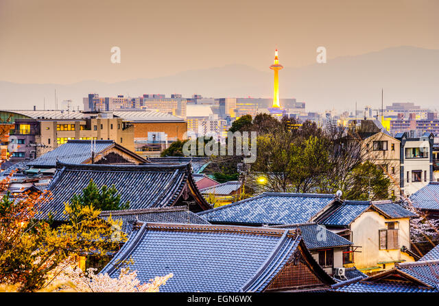 Kyoto, Japan city skyline. - Stock-Bilder