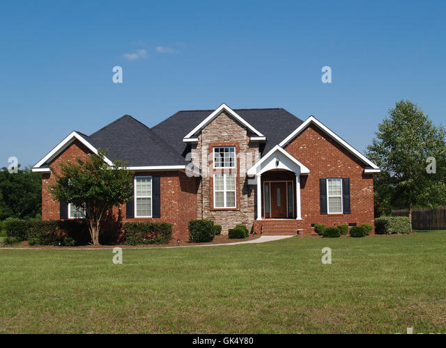 American single story house stock photos american single for American brick and stone
