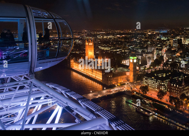 Big Ben near River Thames seen from the London Eye Ferris wheel in London, England, on November 4, 2009. (Adrien - Stock Image