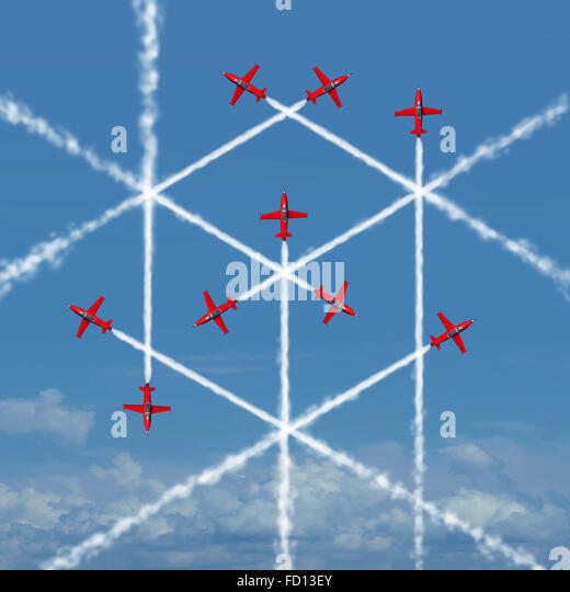 Geometric cube concept as an abstract three dimensional square shape created by the smoke trail of flying jet airplanes - Stock Image