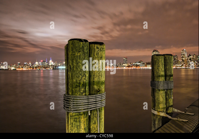 New York City's skyline from New Jersey's Exchange Place. - Stock Image