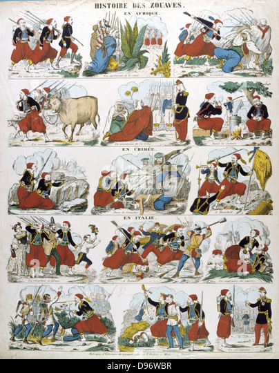 History of the Zouaves, French infantry regiments first raised in Algeria in 1831. Popular French hand-coloured - Stock Image