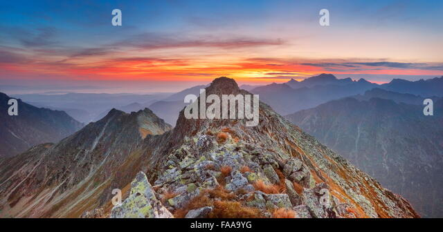 Tatra Mountains, sunrise - Stock Image