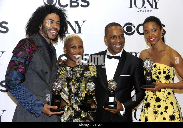 Daveed Digg, Cynthia Erivo, Leslie Odom Jr. and Renee Elise Goldsberry pose with their awards in the press room - Stock Image