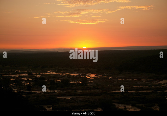 Sunrise in Olifants River Krueger Nationalpark - Stock Image