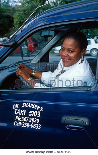 Bahamas Abaco Marsh Harbour taxi driver - Stock Image